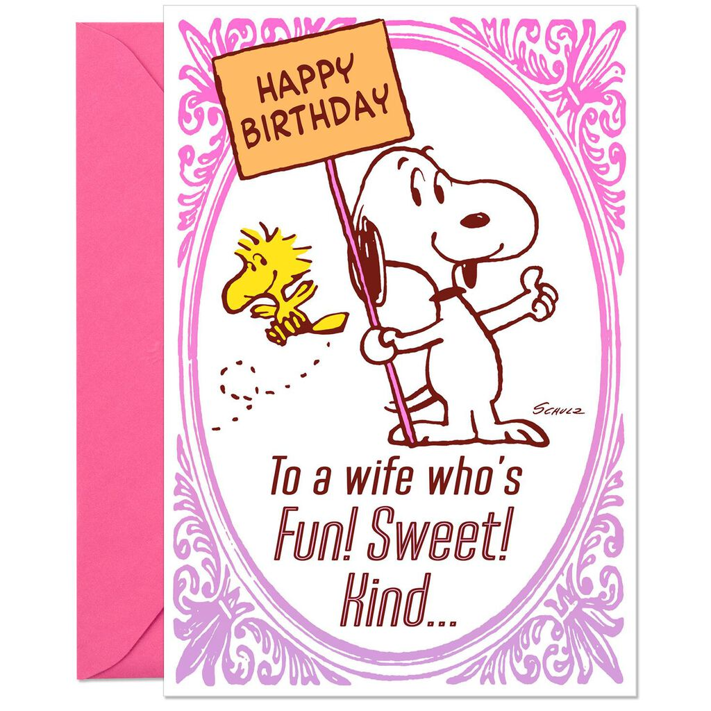 PeanutsR Snoopy And Woodstock Sweet Wife Funny Birthday Card