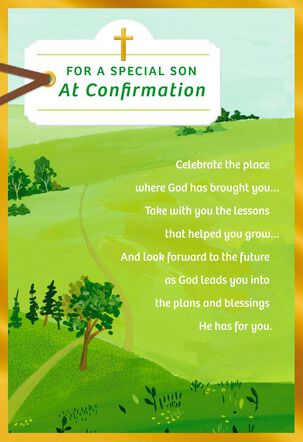 Green Hills With Path Confirmation Card For Son