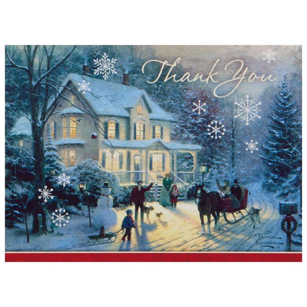 Thomas Kinkade Snowy Scene Blank Thank You Notes, Box of 10 - Note ...