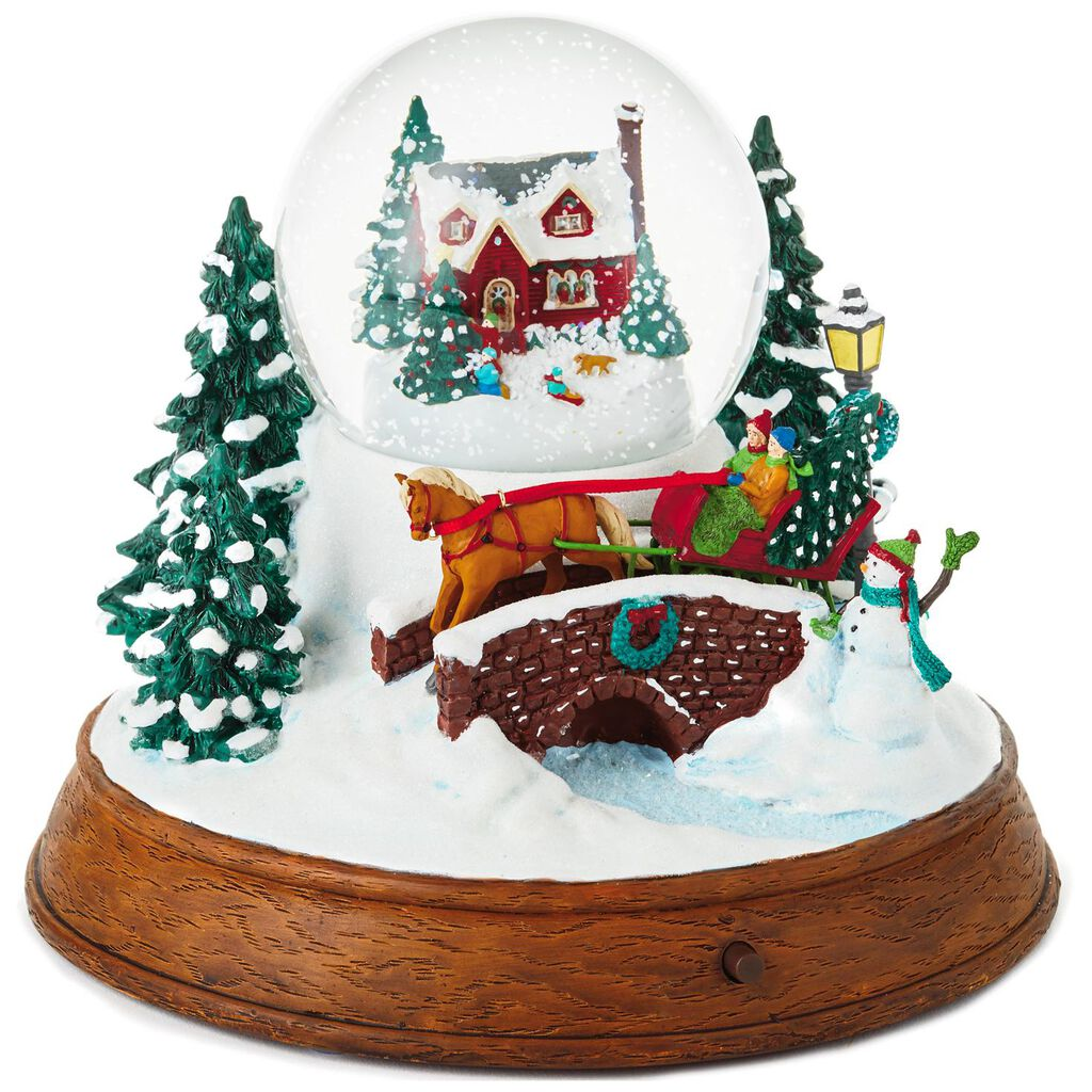 large sleigh ride musical snow globe with light snow globes water globes hallmark - Large Christmas Snow Globes