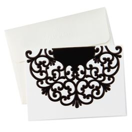 Black Scroll Flap Thank You Notes, Pack of 10, , large