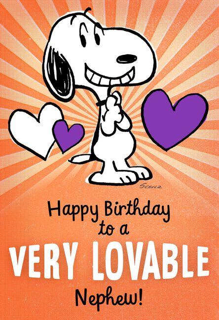 Peanuts Snoopy Lovable Birthday Card For Nephew