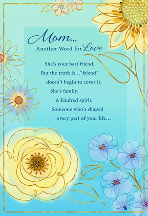 Blue and Yellow Flowers Birthday Card for Mom