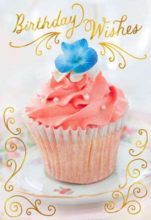 Cupcake and Sweet Wishes With Foil Birthday Card