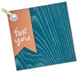 Turquoise Blue Woodgrain Gift Tag With Ribbon, , large