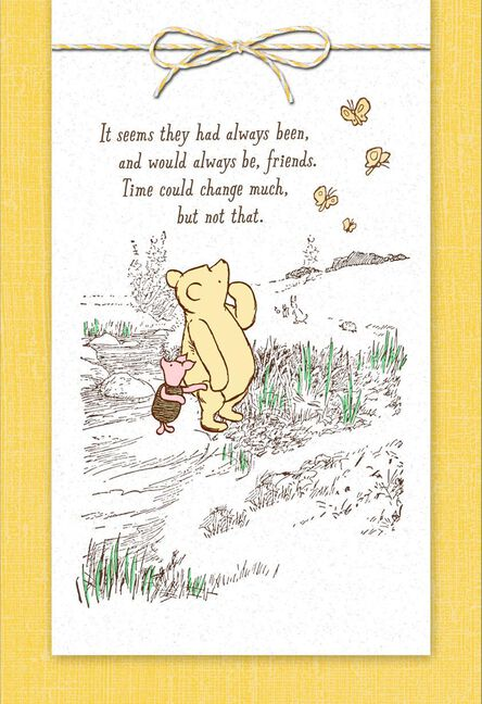 disney winnie the pooh grateful for you friendship card greeting
