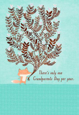 Fox With Heart Bouquet Grandparents Day Card