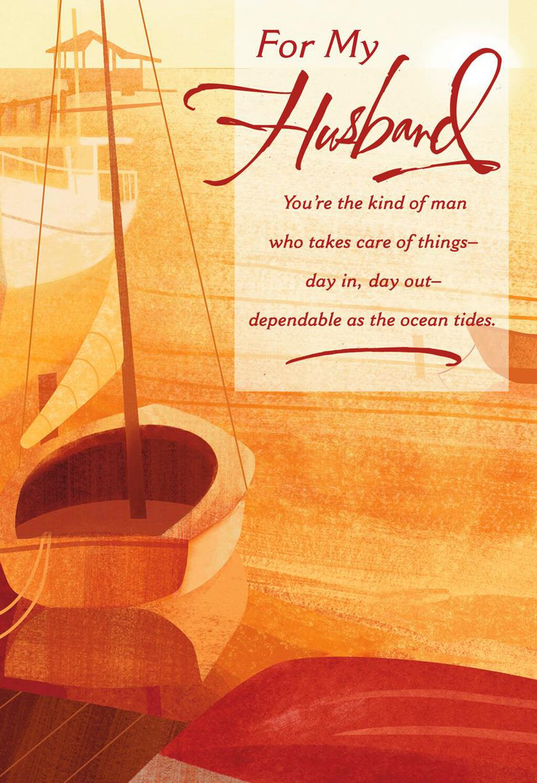 Watercolor Sailboat Birthday Card For Husband