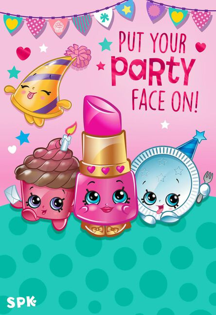Shopkins Put Your Party Face On Kids Birthday Card Greeting Cards