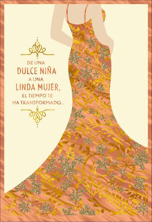 A Beautiful Young Woman Spanish-Language Quinceañera Card