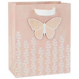 "Pink Butterfly Medium Gift Bag, 9.5"", , large"