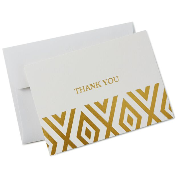 Gold Foil Diamond Thank You Notes, Box Of 10 - Note Cards - Hallmark