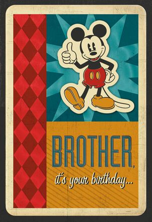 Disney Mickey Mouse Another Year Better Birthday Card for Brother