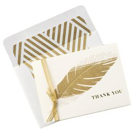 Golden Feather Thank You Notes, Box of 8, , large