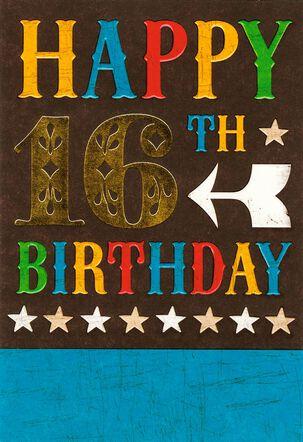 Stars and Arrow 16th Birthday Card