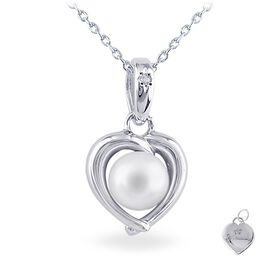 Pearl & Heart Necklace in Sterling Silver, , large