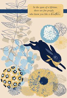 Navy Blue Bunny Easter Card for Brother,