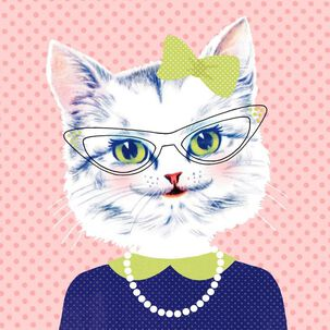 Retro Style Cat Birthday Card