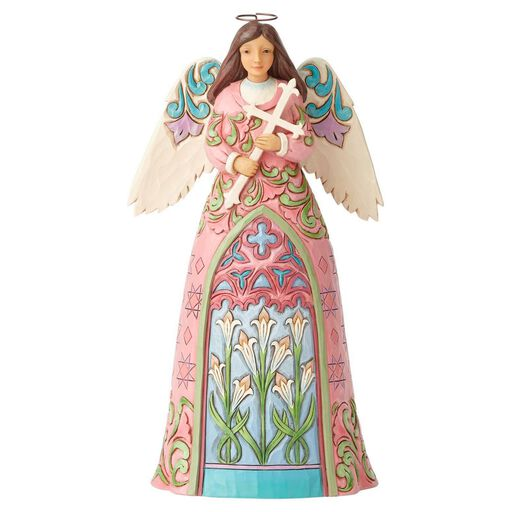 Jim Shore Angel With Cross And Lilies Figurine
