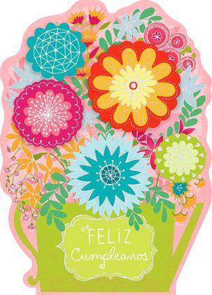"Happy Flowers Large Spanish-Language Birthday Card, 12"""