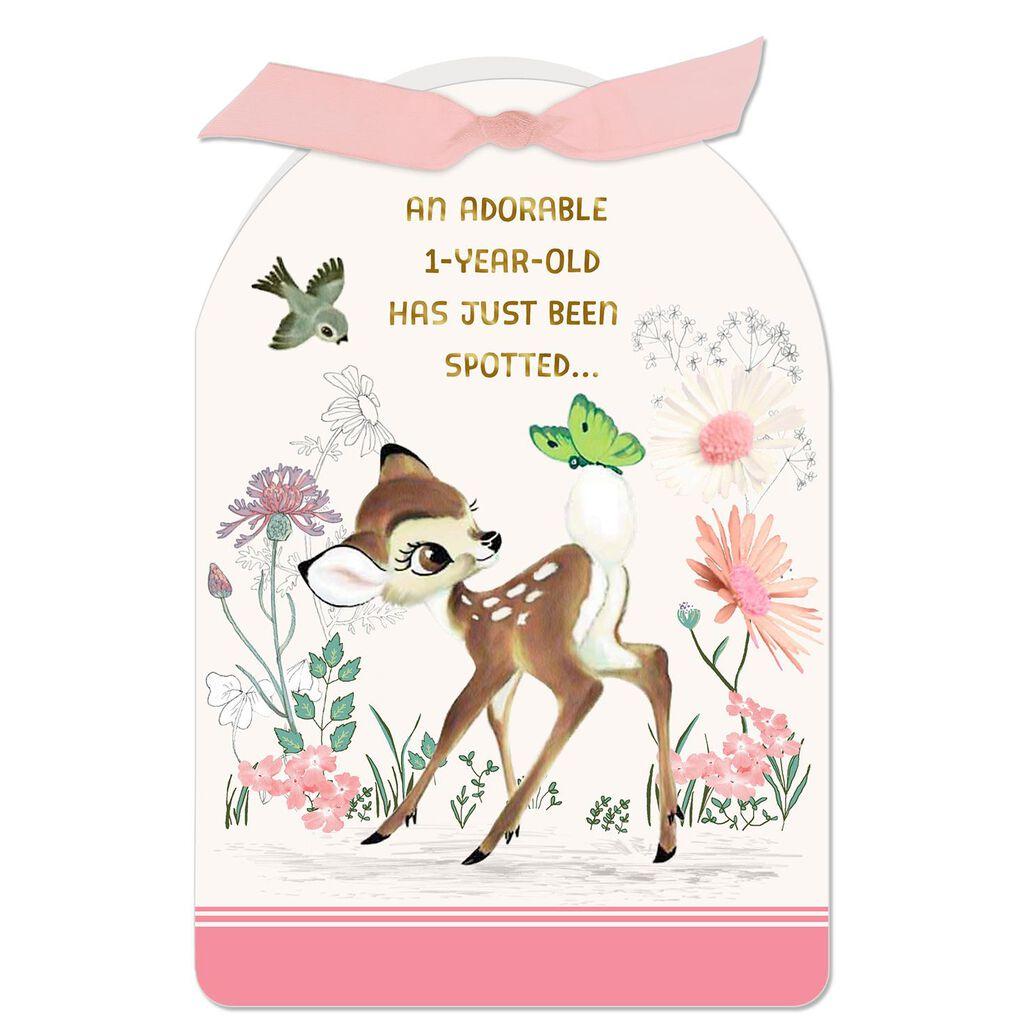 Disney Bambi Pink 1st Birthday Card
