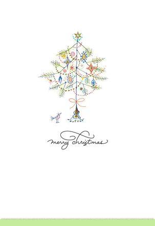 Bird Under Tree Christmas Card