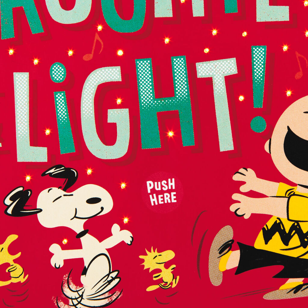 Peanuts Christmas Musical.Peanuts Gang Dancing Musical Christmas Card With Light