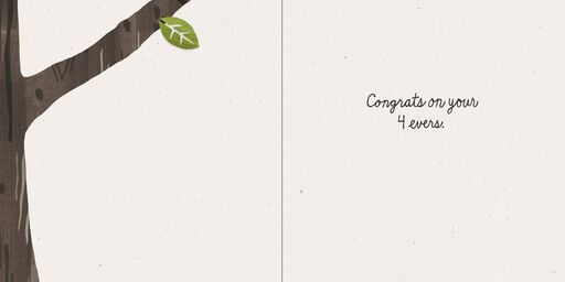 Carved Tree Congratulations on Forever Wedding Card,