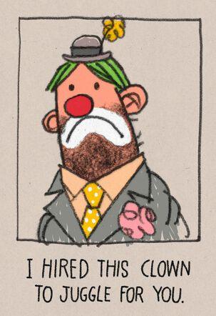 Ball-less Clown Birthday Card