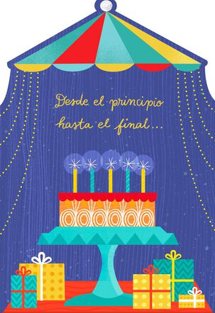 Cake Under a Tent Spanish-Language Birthday Sound Card