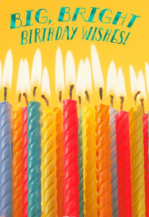 Colorful Candles Bright Wishes Birthday Card