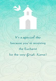 Church and Dove Money Holder First Communion Card,