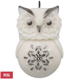 Lovely Li'l Owl With Snowflake Porcelain Mini Ornament, , large