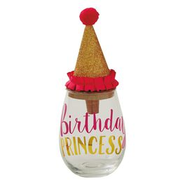 "Mud Pie® ""Birthday Princess"" Stemless Wine Glass With Stopper, 16 oz., , large"