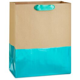 """Dipped Turquoise Large Gift Bag, 13"""", , large"""