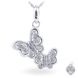 Diamond Accent Butterfly Necklace  in Sterling Silver, , large