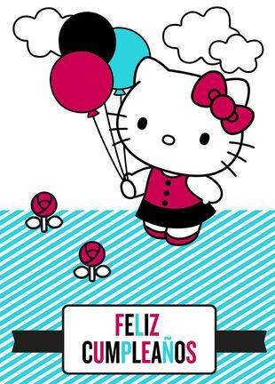 Hello KittyR Large Spanish Language Birthday Card