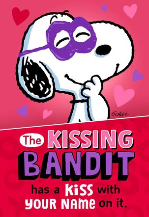 Snoopy Kissing Bandit Musical Valentine's Day Card