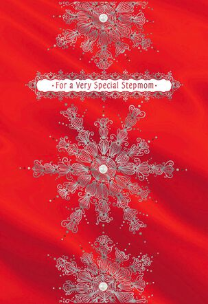 Snowflakes on Red Christmas Card for Stepmom