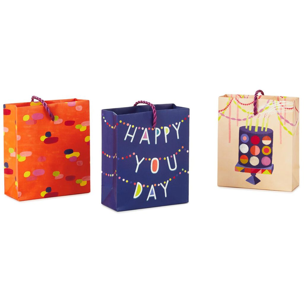 Assorted Birthday Gift Card Holder Mini Bags Pack Of 3