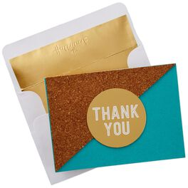 Cork and Metallic Gold Thank You Notes, Box of 8, , large