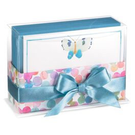 Watercolor Dot Caddy with Butterfly Note Cards, Pack of 50, , large