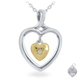 Diamond Accent Two Hearts Necklace in Sterling Silver, , large