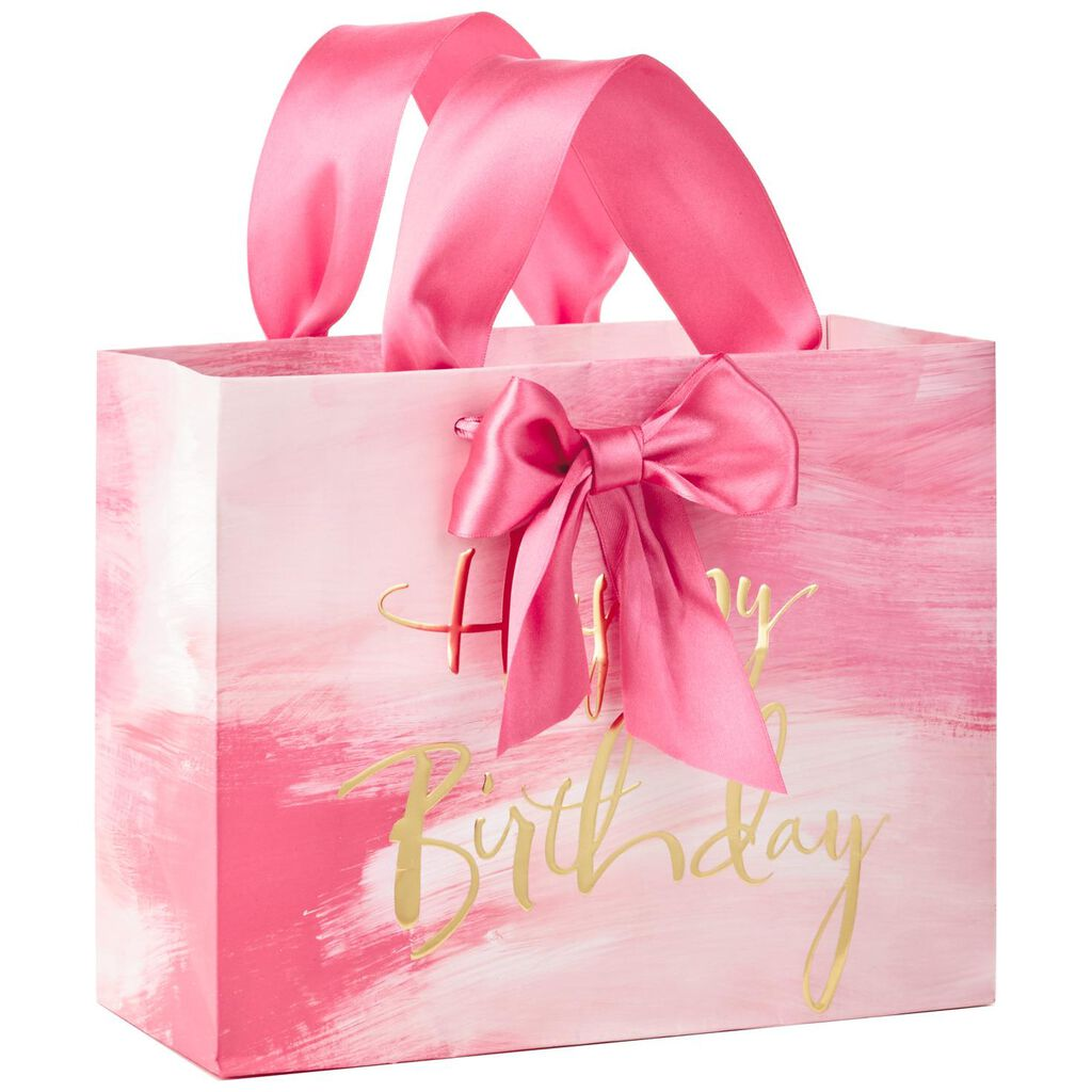 Pink Watercolor Happy Birthday Medium Gift Bag