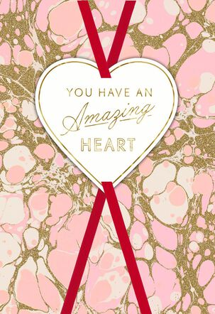 Pink and Gold Marble Valentine's Day Card for Anyone