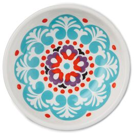 Turquoise Blue, Red and Purple Flowers Ceramic Tidbit Bowl, , large