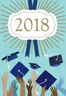 Class of 2018 Hands and Hats Graduation Card,