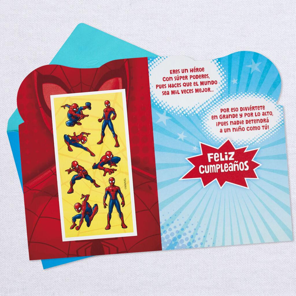 marvel spiderman spanishlanguage 5th birthday card with