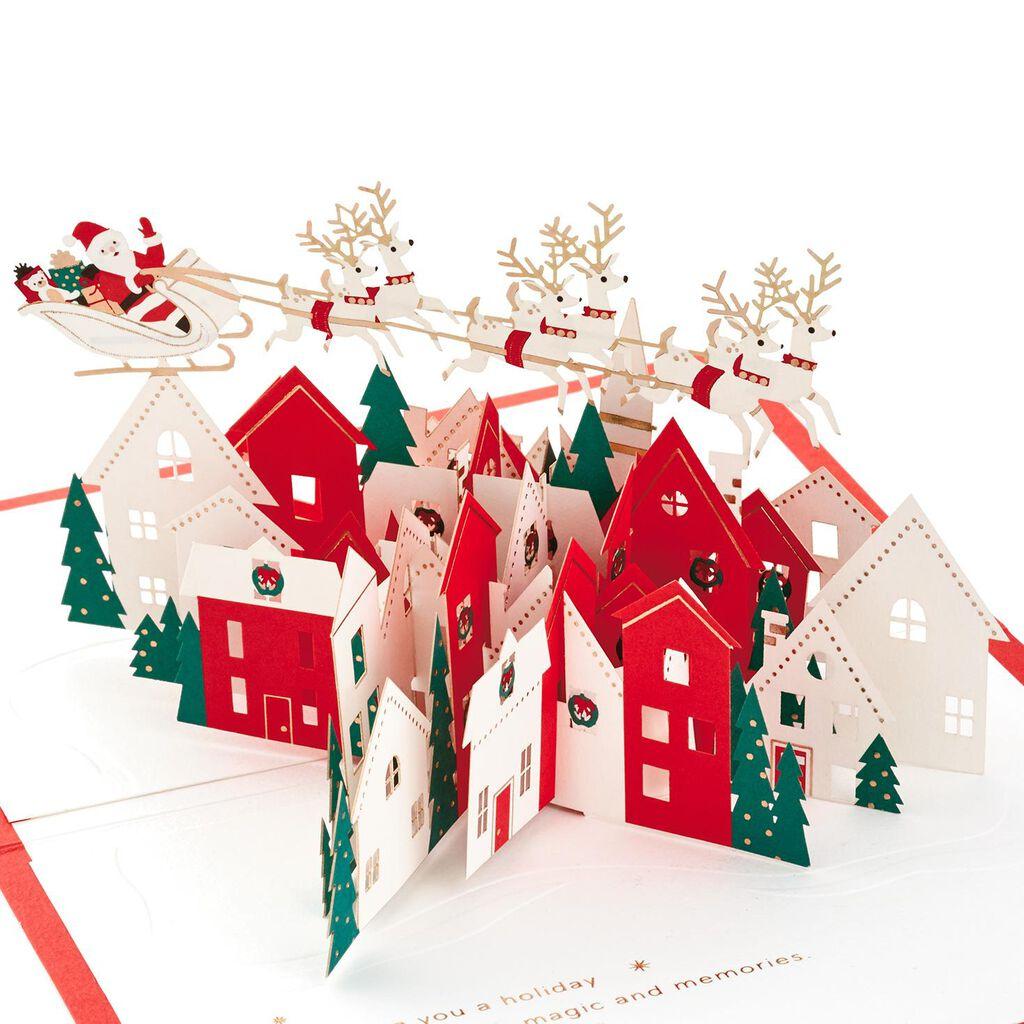 Santa\'s Sleigh Village 3D Pop Up Christmas Card - Greeting Cards ...