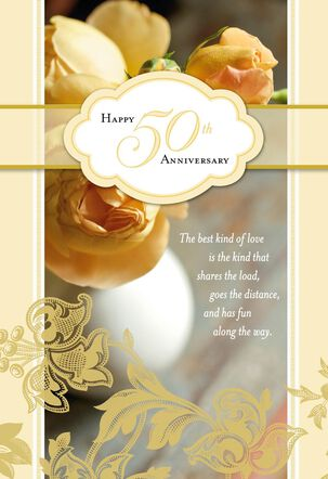 Yellow Roses 50th Anniversary Card
